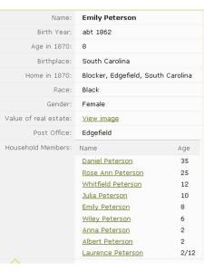 1870 census record for Emily Peterson, born 1862 and living in Blocker, Edgefield County, South Carolina