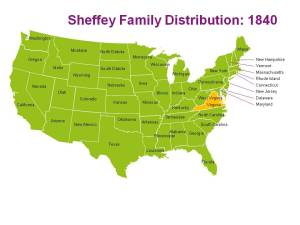The distribution of the Sheffey family in 1840