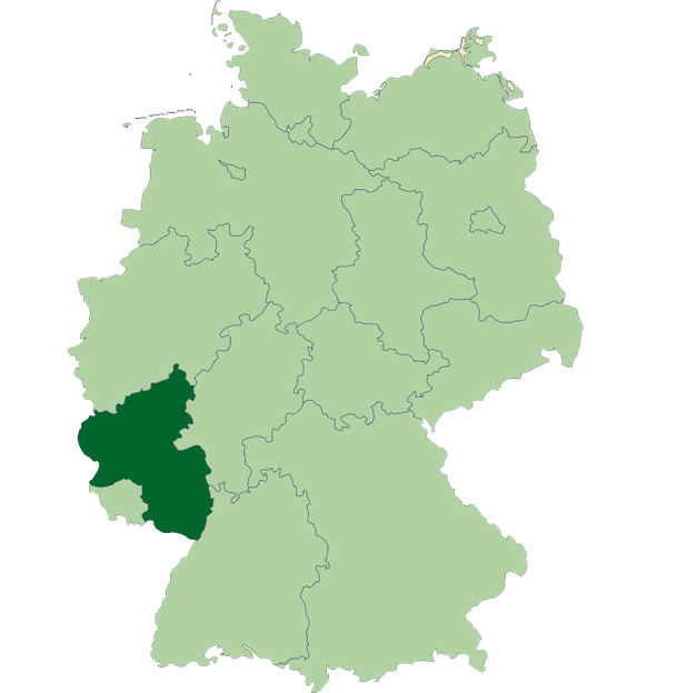 German map. Sudwestpfalz, Rheinland-Pfalz is highlighted in dark green.