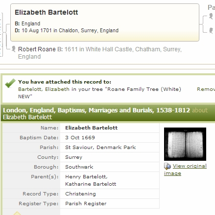 Elizabeth Bartelott birth record