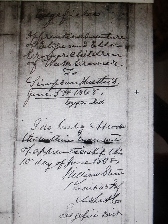 Indenture of Eliza and Ellen Cramer to Simpson Matthews - Page 1