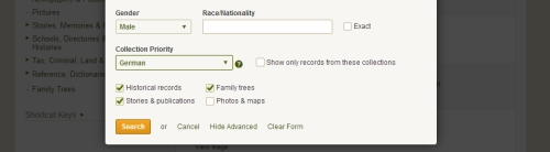Applying the German country filter on Ancestry.com