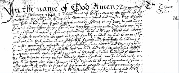 The last Will and Testament of Thomas Roane, Sr, Sergeant of the Scullery