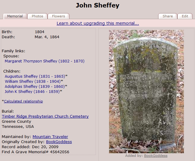 imageof John Sheffey's resting place in Greene County, TN