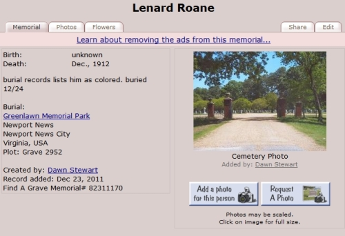 image for Leonard Roane's burial