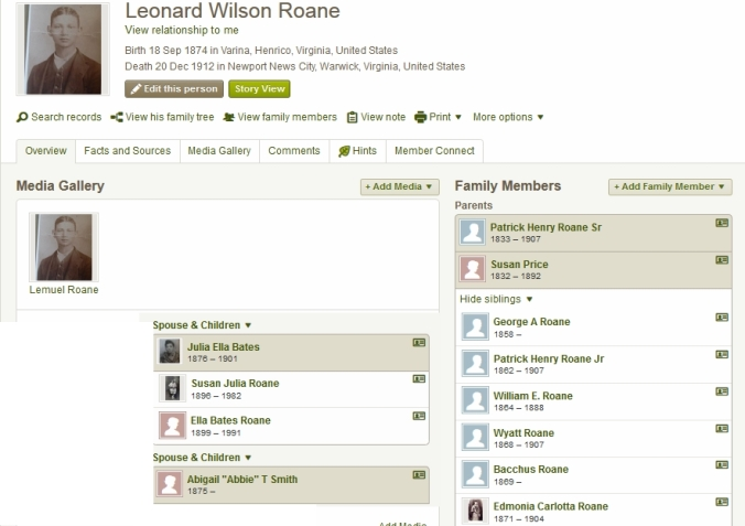 image of the Immediate family tree for Leonard Wilson Roane