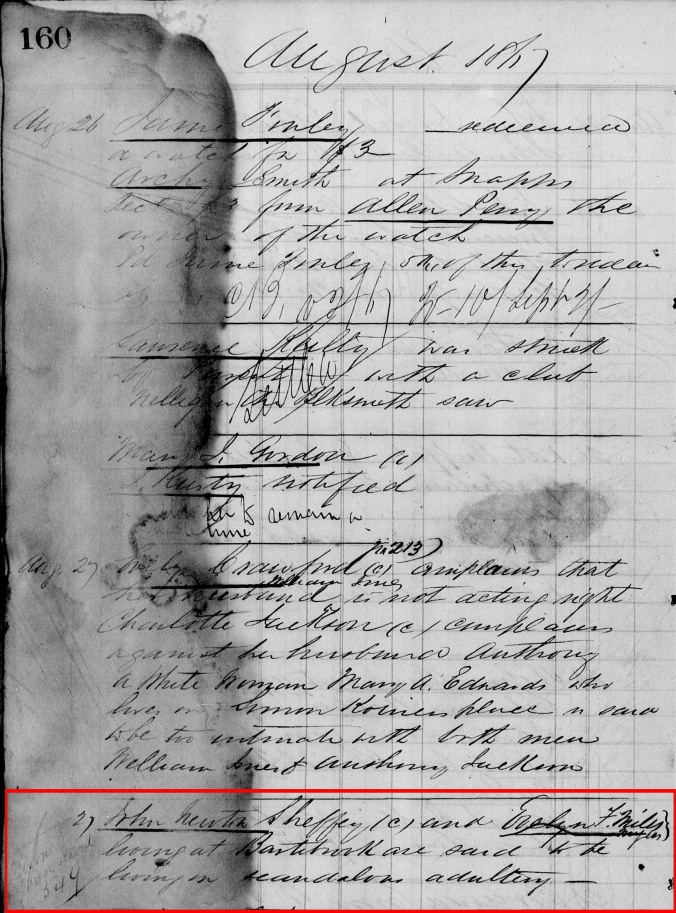 image of Freedmen Bureau's note regarding John Newton Sheffey and Evelyn F Mills, 1867.