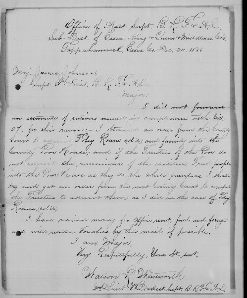 "Toby Roane's petition for admittance to the poor house. Letter dated- 24 Dec 1866 -  ""Virginia, Freedmen's Bureau Field Office Records, 1865-1872,"" index and images, FamilySearch (https://familysearch.org/pal:/MM9.1.1/FPNJ-PZL : accessed 16 Jul 2014), Tobey Roane, ; citing NARA microfilm publication M1913, National Archives and Records Administration, College Park, Maryland; FHL microfilm 2413683."