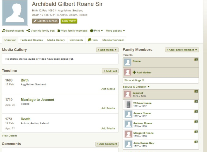 Sir Archibald Gilbert Roane, his wife Jennet, and their sons