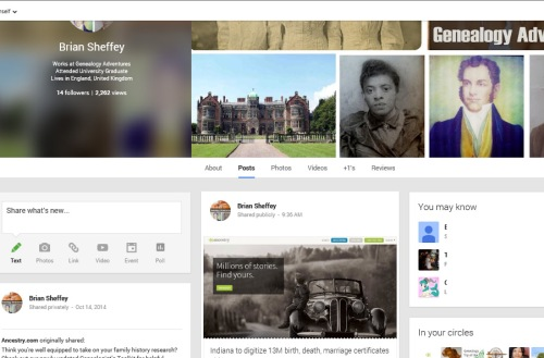 Genealogy Adventures on Google+