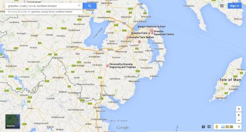 a map showing the location of Gransha, in County Down, northern Ireland