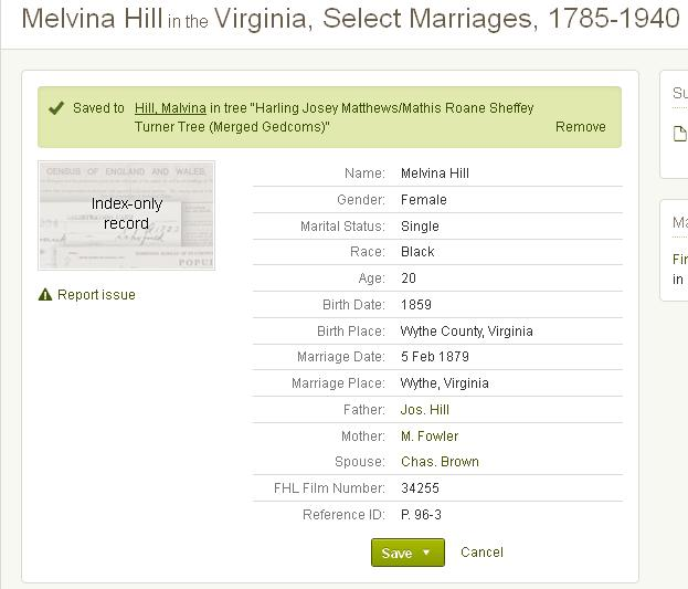 Marriage details for Malvina Fowler-Hill.  Source Information Ancestry.com. Virginia, Select Marriages, 1785-1940 [database on-line]. Provo, UT, USA: Ancestry.com Operations, Inc, 2014. Original data: Virginia, Marriages, 1785-1940. Salt Lake City, Utah: FamilySearch, 2013.