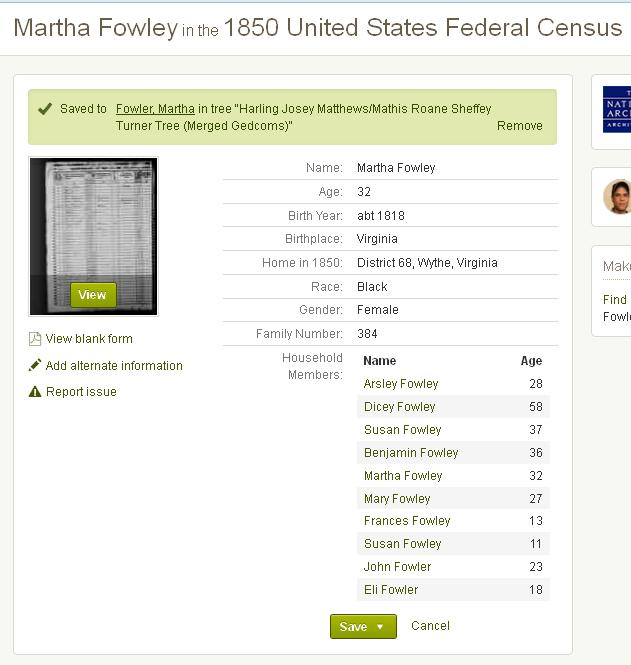 An image of Martha Fowler in the 1850 Census