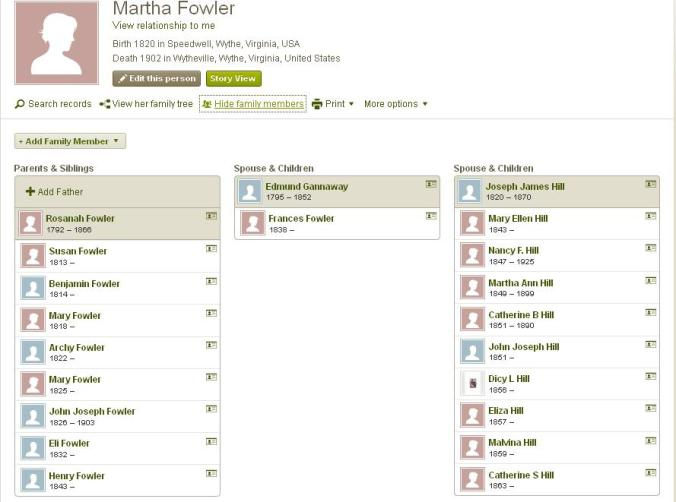 Martha Ann Fowler Hill's family tree