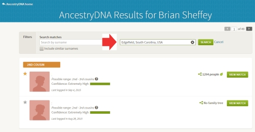 image showing how to filter for a specific place on AncestryDNA