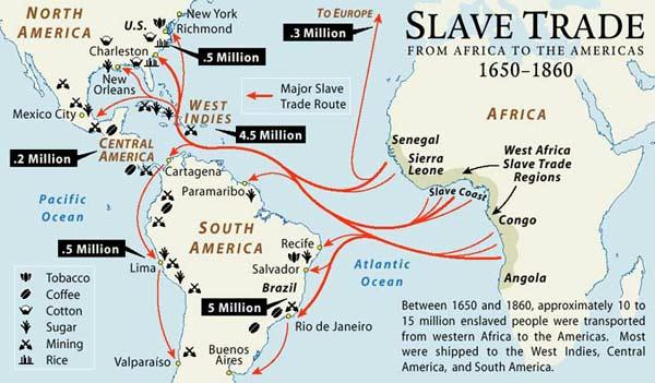 Trans-Atlantic slave trade map
