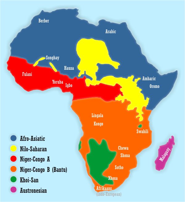 Map showing the distribution of Bantu vs. other African languages. The Bantu area is in orange.