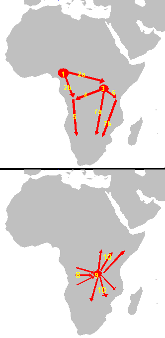 The spread of the Bantu language family in Africa: