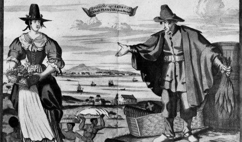 A seventeenth-century image of English Quaker tobacco planters and enslaved Africans in Barbados.