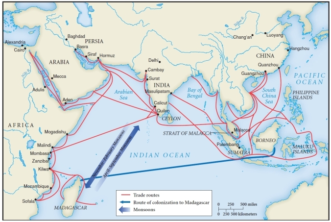 A map showing ancient trade routes from east Africa to the Arabian Peninsula, India and beyond.