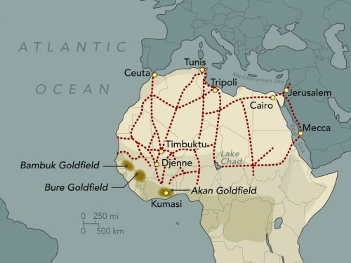 Map showing ancient trade routes within Africa.
