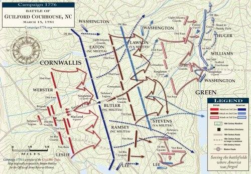 Map of the Battle of Guilford Court House, courtesy of http://www.campaign1776.org