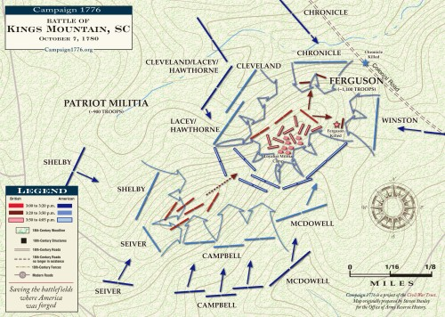 Map of the Battle of Kings Mountain, courtesy of http://www.campaign1776.org