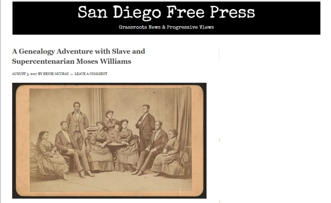 image showing The Moses Williams Project Article: A Genealogy Adventure with Slave and Supercentenarian Moses Williams | San Diego Free Press